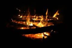 Campfire at night Royalty Free Stock Photo