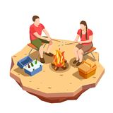 Campfire Outing Isometric Composition. Camping hiking isometric icons composition with view of outdoor picnic date with campfire and a couple vector illustration royalty free illustration