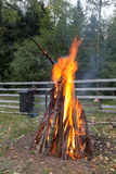 Campfire. A outside campfire in garden Royalty Free Stock Photos