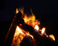 Campfire over dark backgroumd extreme closeup Stock Photography