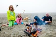 Campfire på stranden royaltyfri fotografi