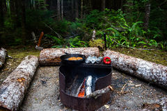 Campfire in Pacific Northwest Royalty Free Stock Photography