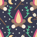 Campfire Pattern. A fun and simple campfire pattern with roasting marshmallows, branches, moons, and stars Royalty Free Stock Image