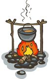 Campfire. Pon on the Campfire. Color vector illustration on white background Stock Photography