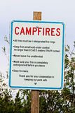 A campfire rules and reminder sign Stock Photography