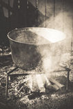 Campfire rural cooking in a Romanian village Royalty Free Stock Photos