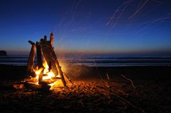 Campfire on shi shi beach Stock Images