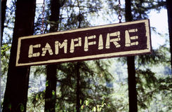 Campfire Sign. Closeup of a campfire sign in the woods Stock Photography