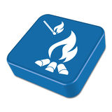 Campfire silhouette icon. Campfire silhouette on the blue button. Vector illustration Royalty Free Stock Photography