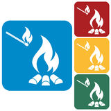 Campfire silhouette icons set Royalty Free Stock Photo