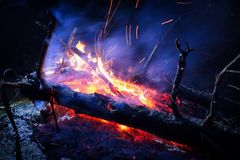 Campfire. With smoke and sparks Stock Image