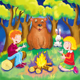 Campfire songs. Two children and a bear and a white rabbit sit around a campfire in the forest singing songs Stock Photo