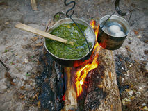 Campfire sorrel soup Royalty Free Stock Images