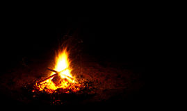 Campfire with sparks Royalty Free Stock Images