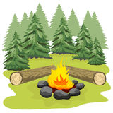 Campfire with stones and wooden logs in forest clearing. Campfire with stones and wooden logs in a forest clearing Stock Photography