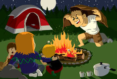 Campfire Story. Family campfire story time in mountains vector illustration