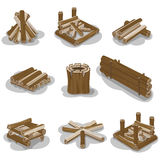 Campfire Stumps Logs Collection Isolated on White. Campfire stump logs collection isolated on white background. Vector poster of wood pieces without fire put in Stock Images