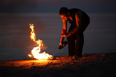 Campfire in the summer night Royalty Free Stock Photography