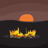 Campfire at Sunset. Hand drawn cartoon campfire scene with sunset Royalty Free Stock Photo