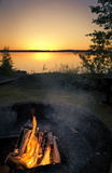 Campfire at the sunset Stock Photography
