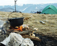 Campfire and tent Royalty Free Stock Images