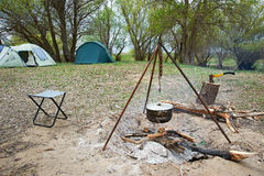 Campfire and tent Royalty Free Stock Photography