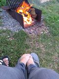 Campfire - Toasty Toes stock image