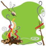 Campfire Treats. Roasting marshmallows and hotdogs over a campfire vector illustration