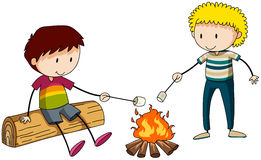 Campfire. Two boys burning marshmellow at the campfire stock illustration