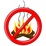 Campfire Vector inside red banned logo. Isolated Log campfire with burning flames and smoke trails inside red banned logo Royalty Free Stock Photo