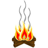 Campfire Vector. Isolated Log campfire with burning flames and smoke trails stock illustration