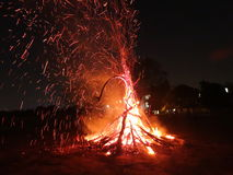 Campfire. A view of flames during night Royalty Free Stock Photo