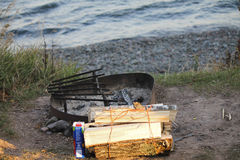 Campfire waiting to happen. The pieces to a campfire near the waters edge Stock Images