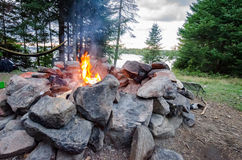 Campfire. Warms the camp as the sun slowly sets Royalty Free Stock Image