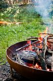 Campfire in the wilderness Royalty Free Stock Photography