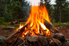 Campfire at Wilderness Campsite. In the Rocky Mountains, Colorado Stock Images
