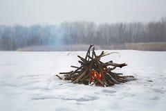 Campfire in winter stock photo