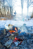Campfire in winter Royalty Free Stock Photo