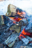 Campfire in winter Stock Photos
