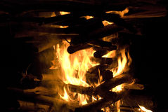 Big campfire burning Royalty Free Stock Photos