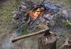 Campfire woods close-up Stock Photos