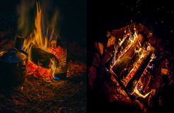 Campfires lighting the darkess Stock Photography