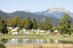 Campground in the Alps Royalty Free Stock Photo