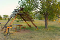 A campground in america. A tent site as seen at a camping facility in texas stock photography