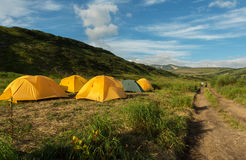 Campground in brookvalley Spokoyny at the foot of outer north-eastern slope of caldera volcano Gorely. Stock Photography
