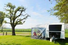 Campground with caravan Stock Photos