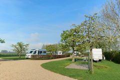 Campground with caravans and campers Stock Image