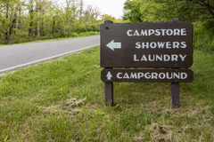 Campground Directional Sign Royalty Free Stock Image