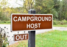 Campground Host sign. Showing Out, in a campground Stock Image