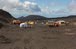 Campground on the lava field at Tolbachik volcano, after eruption in 2012, Klyuchevskaya Group of Volcanoes Royalty Free Stock Image